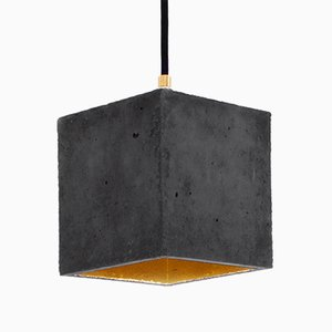 [B1] Dark Concrete & Gold Cubic Pendant Light by Stefan Gant for GANTlights