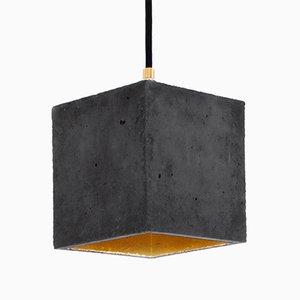 [B1] Hängelampe aus dunklem Beton & Gold in Würfelform von Stefan Gant für GANTlights