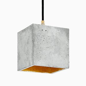 Lampada a sospensione cubica [B1] in cemento e placcata in oro di Stefan Gant per GANTlights