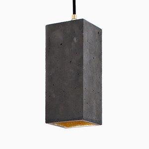 Lampada a sospensione rettangolare [B2] in cemento scuro e placcata in oro di Stefan Gant per GANTlights