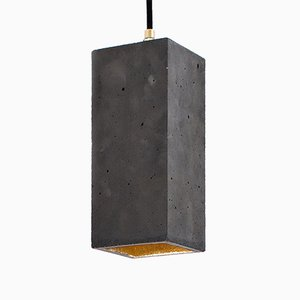 Rectangular [B2] Pendant in Dark Concrete & Gold by Stefan Gant for GANTlights