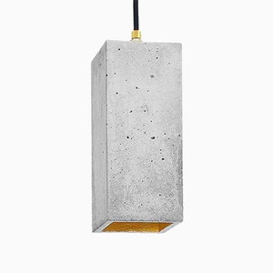 Rectangular [B2] Pendant Light in Concrete & Gold by Stefan Gant for GANTlights