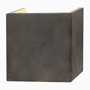 [B3] Dark Concrete & Gold Cubic Wall Light by Stefan Gant for GANTlights