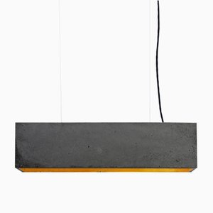 Rectangular [B4] Wall Light in Dark Concrete & Gold by Stefan Gant for GANTlights