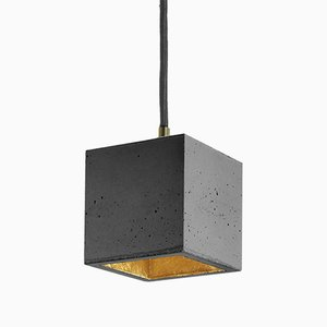 Cubic [B6] Pendant Light in Dark Concrete & Gold by Stefan Gant for GANTlights