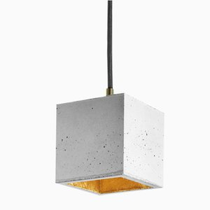 [B6] Light Concrete & Gold Cubic Pendant Light by Stefan Gant for GANTlights