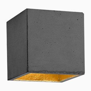 Lámpara de techo [B7] cúbica de hormigón oscuro y dorado de Stefan Gant para GANTlights