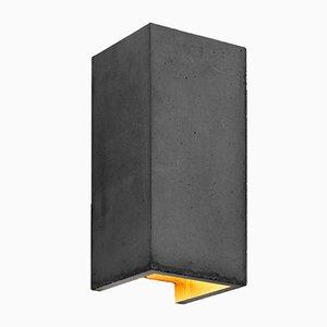 [B8] rechteckige Wandlampe aus dunklem Zement & Gold von Stefan Gant für GANTlights