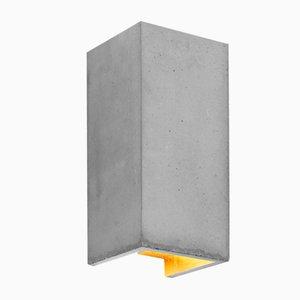 Lámpara de pared [B8] rectangular de hormigón claro y dorado de Stefan Gant para GANTlights