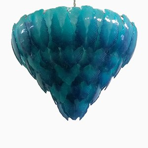 Italian Turquoise Murano Waterfall of Leaves Chandelier, 1940s