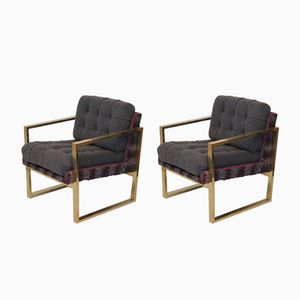 Italian Mid-Century Brass Armchairs, 1950s, Set of 2