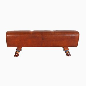 Vintage Leather Gymnastics Bench, 1930s