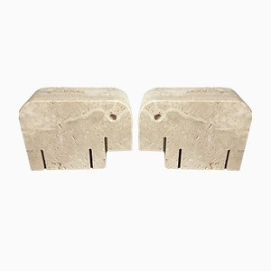 Vintage Travertine Elephant Bookends by Cerri Nestore, Set of 2