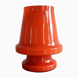 Lámpara de mesa sueca de vidrio naranja de Flygsfors, años 70
