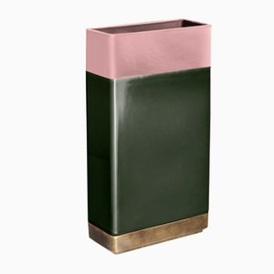 Pink & Green Brass Vase by Dimorestudio for Bitossi