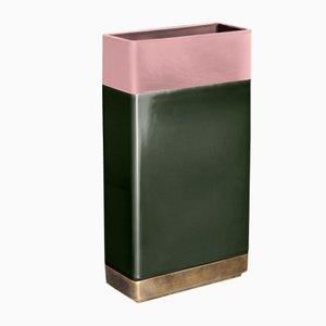 Vaso in ottone verde e rosa di Dimorestudio di Bitossi