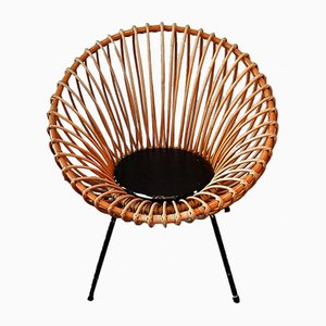 Mid-Century Rattan Scoop Chair