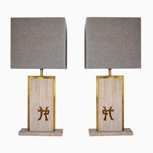 Lampes de Bureau en Travertine et Laiton par Jean Claude Mahey, Set de 2
