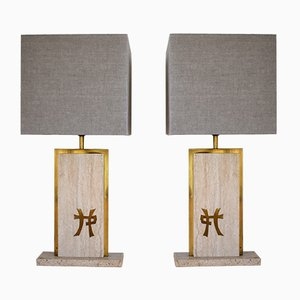 Travertine & Brass Table Lamps by Jean Claude Mahey, Set of 2