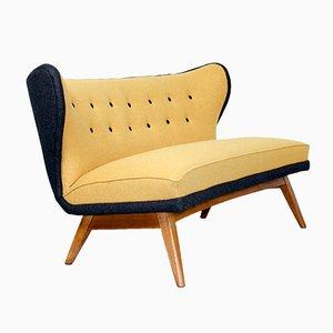 Mid-Century Sofa in grauer & gelber Filzwolle, 1960er