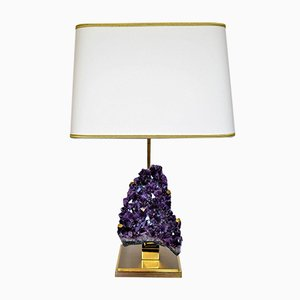 Beau Vintage Amethyst U0026 Brass Table Lamp