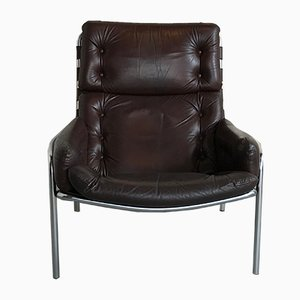 Mid-Century Model SZ09 Nagoya Leather Lounge Chair by Martin Visser for 't Spectrum