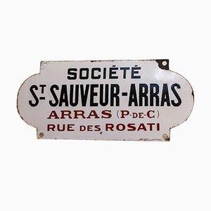 Enseigne d'Usine Arras Antique Émaillée