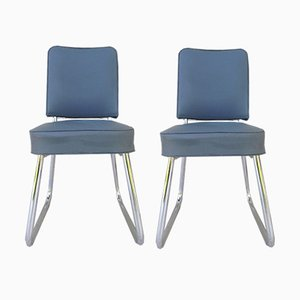 Mid-Century French Desk Chairs with Chrome Legs, Set of 2