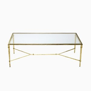 Golden Wrought Iron Coffee Table by Robert Thibier, 1960s