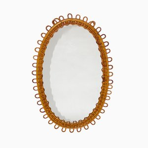 French Rattan Mirror, 1950s
