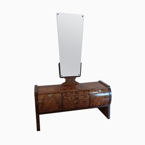 Art Deco Console Cabinet with Mirror