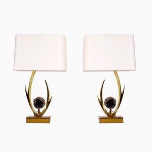 Lámparas de mesa esculturales de Willy Daro, años 70. Juego de 2