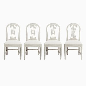 Antique Swedish Beech Chairs, Set of 4