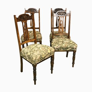 Art Nouveau Oak Chairs, Set of 4