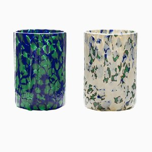 Ivory, Green & Blue Macchia su Macchia Glasses by Stories of Italy, Set of 2
