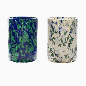 Vasos Macchia su Macchia en marfil, azul, y verde de Stories of Italy. Juego de 6