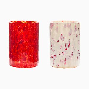 Verres Macchia su Macchia Rouge, Orange, Ivoire & Marron par Stories de Italy, Set de 2