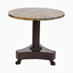 Table d'Appoint Empire Antique en Acajou et Marbre