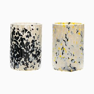 Ivory, Black & Yellow Macchia su Macchia Glasses by Stories of Italy, Set of 2