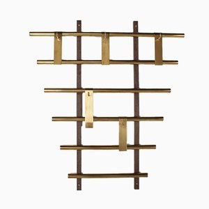 Vintage Wall-Mounted Coat Rack in Wenge and Solid Brass