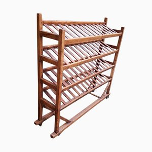 Wooden Inclined Shelving Unit, 1950s