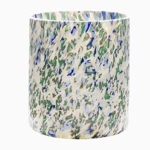 Vaso medio Macchia su Macchia in vetro color avorio, verde e blu di Stories of Italy