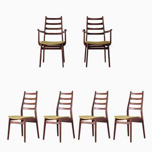 Set di 2 poltrone e 4 sedie in palissandro di casala, anni '70