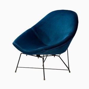 Italienischer Kosmos Sessel in blauem Samt von Augusto Bozzi für Saporiti, 1950er