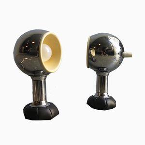 Lampade da tavolo cromate con base a forma di pouf in pelle nera, anni '70, set di 2
