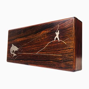 Danish Rio Rosewood Box with Sterling Salmon Fishing Intarsia by Muus Petersen for Frantz Hingelberg, 1960s