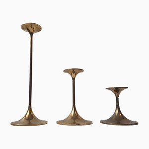 Model Hi-Fi Brass Candlesticks by Max Brüel for Torben Orskov, 1960s, Set of 3