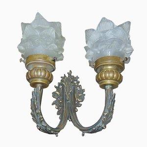 Vintage Messing Wandlampe mit zwei Schirmen