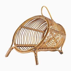 Revistero italiano Mid-Century de bambú y ratán con asa