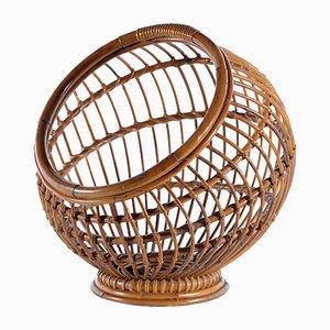 Revistero italiano Mid-Century en forma de nido de bambú y ratán de Bonacina
